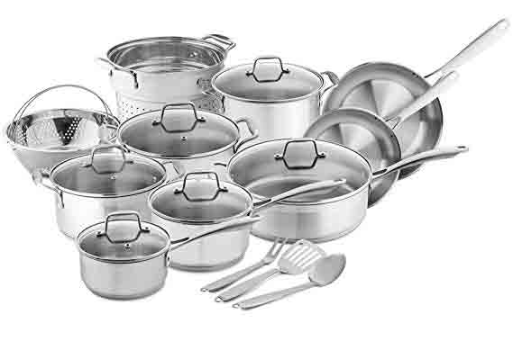 Chefs Star Professional Grade Stainless Steel 17 Piece Pots and Pans Set