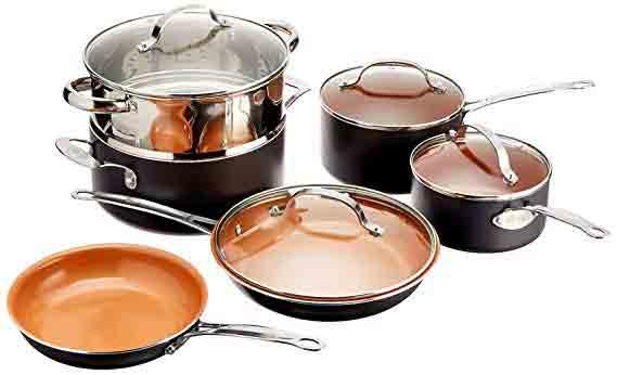 Gotham Steel Kitchen Nonstick Frying Pan and Cookware, 10-Piece Set