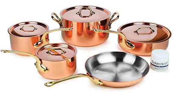 Mauviel M'heritage 9-Piece Set (Best Copper Cookware Set)