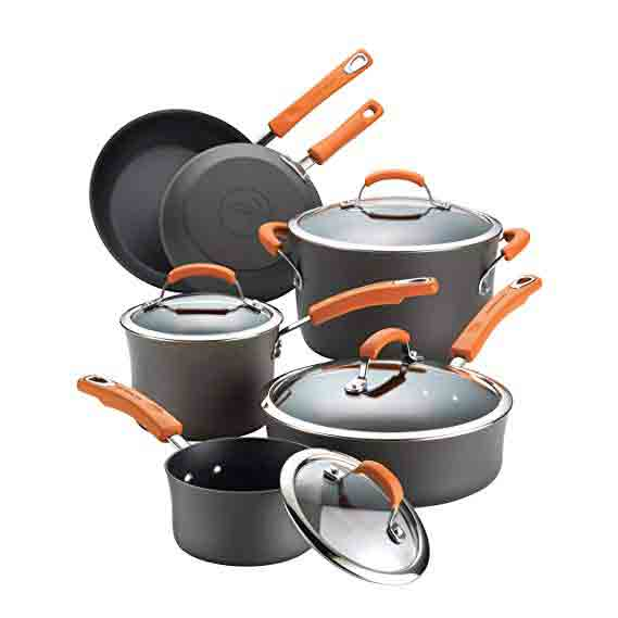 STAINLESS STEEL ELECTRIC SKILLET WITHOUT NON STICK COATING Rachael Ray Hard Anodized II Nonstick Dishwasher Safe 10-Piece Cookware Set