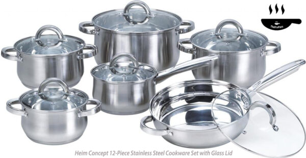 Heim Concept 12 Piece Stainless Steel Cookware Set with Glass Lid