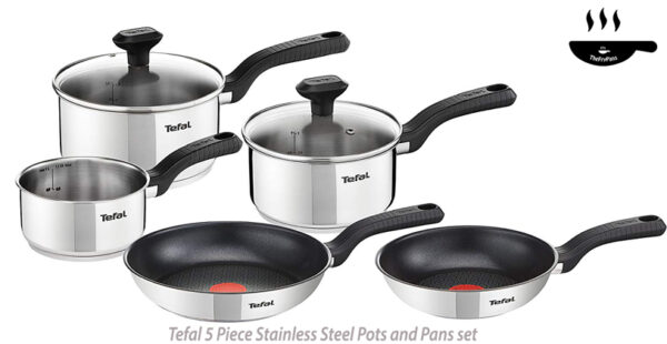 Tefal 5 Piece Comfort Max Stainless Steel Pots and Pans Induction Set